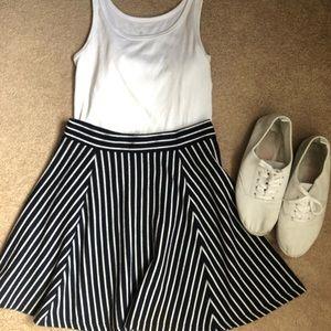 Dresses & Skirts - Navy Blue & White Striped Skater Skirt